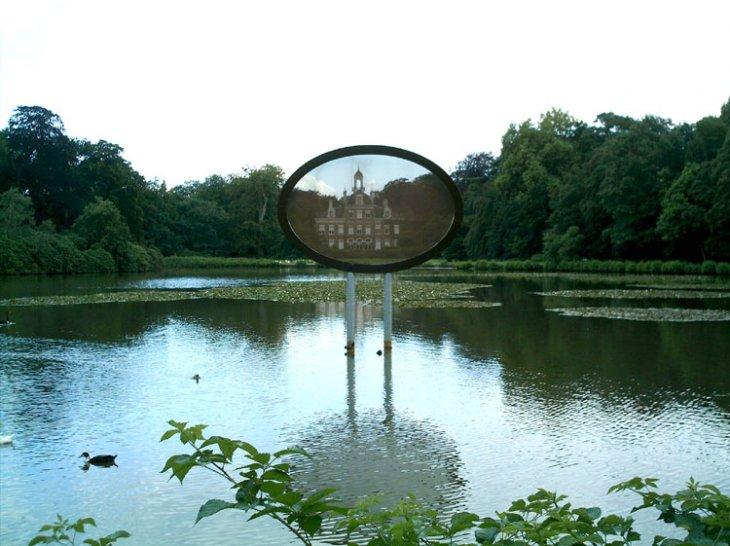 Het kunstwerk zonder titel in park De Mik.