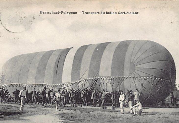 Transport met een vliegballon.
