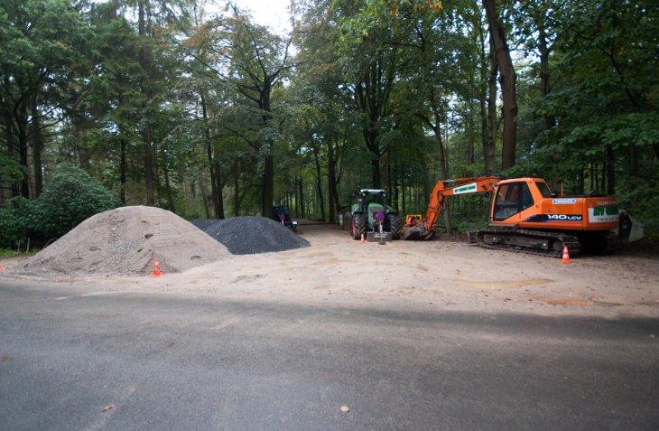Werken parking Inslag ingang Kerkedreef
